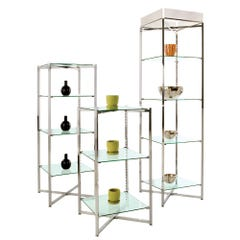 Folding Glass Tower with Chrome Finish