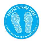 """Please Stand Here PPE Floor Decal - 12"""" Diameter   Pack of 5"""