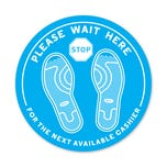 "Please Wait Here PPE Floor Decal 12"" Diameter  Pack of 5"