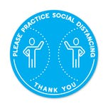 "Please Practice Social Distancing PPE Floor Decal 12"" Diameter  Pack of 5"