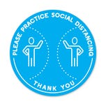 "Please Practice Social Distancing PPE Floor Decal 12"" Diameter  Pack of 5"