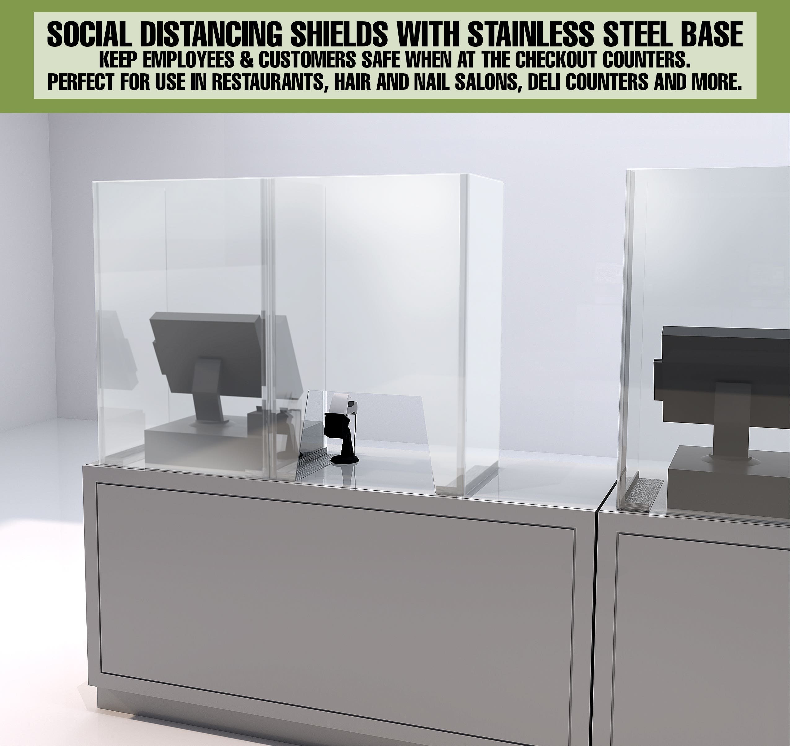 Social Distancing Shields With Stainless Steel Base Keeps employees and customer safe when at the checkout counters. Perfect for use in restaurants, hair and nail salons, deli counters and more.